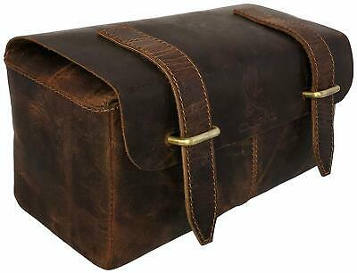 Quality Genuine Leather Men's Shaving, Toiletry and Travel Bag, Dopp Kit