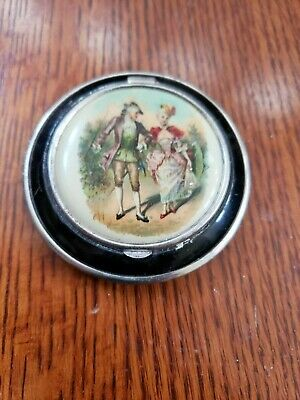 Antique Victorian Lady and Man Mirror Purse Compact Complete