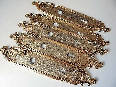 "11.1/8"" Lot of 5 Vintage French Brass door plates, Hardware ,Locks,Handle..."