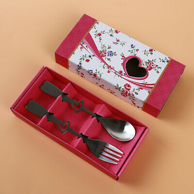 Portable Spoon Fork Stainless Steel Hollow Heart Reusable Tableware Cutlery D