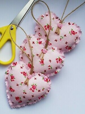 *3 HEARTS* FABRIC HANGING HEARTS PINK ROSES new BUTTON TWINE MORE HEARTS LISTED