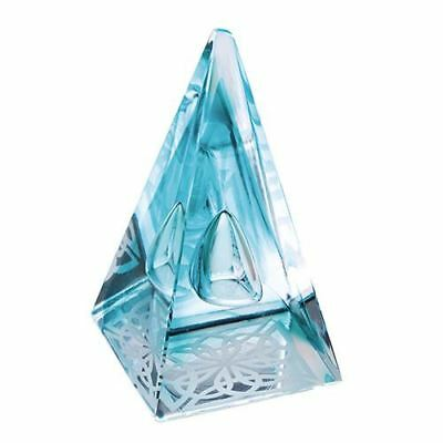 Caithness Glass Abstract Aqua Pyramids Celtic Knot Paperweight
