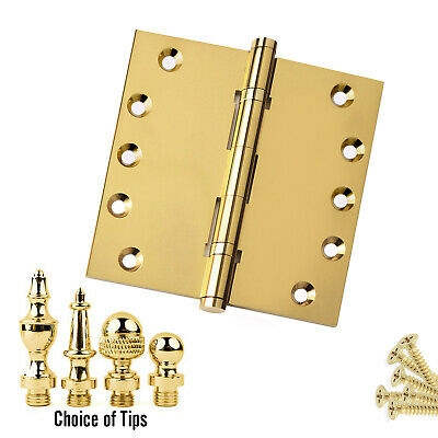 Door Hinge 5 x 5 Solid Brass Ball Bearing Polished Brass With Tips