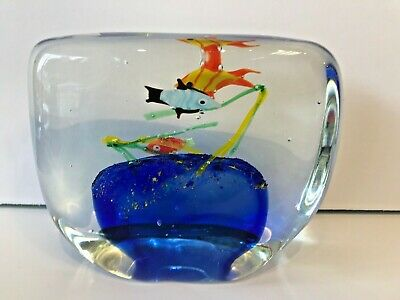 HEAVY GLASS AQUARIUM PAPERWEIGHT with REEF & FISH
