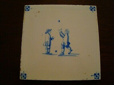 19th Century Delft Tile Playing Catch   20/70