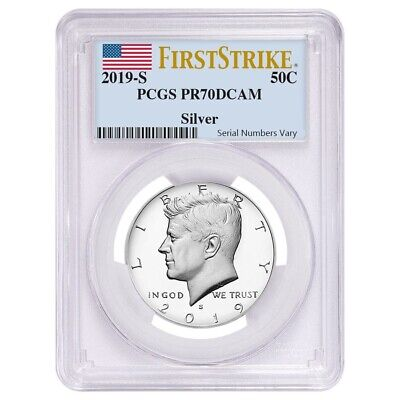 2019 S Proof Silver Kennedy Half Dollar First .999 Fine Silver PCGS PF 70 FS