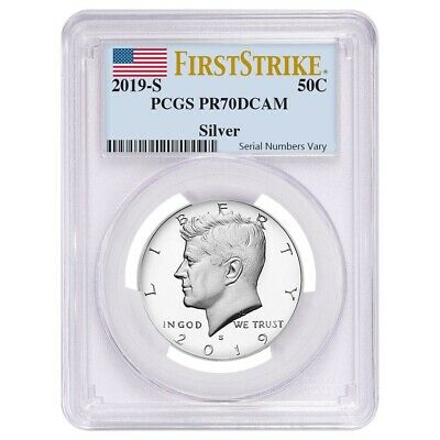Sale Price - 2019 S Proof Silver Kennedy Half Dollar .999 Fine Silver PCGS PF 70