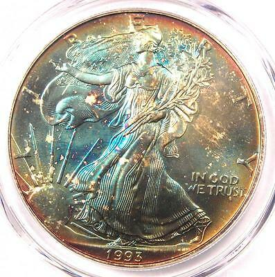 1993 Toned American Silver Eagle Dollar $1 ASE - PCGS MS67 - Rainbow Toning Coin