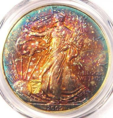 2009 Toned American Silver Eagle Dollar $1 ASE - PCGS MS67 - Rainbow Toning Coin
