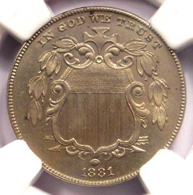 1881 Shield Nickel (5C Coin) - NGC Uncirculated Details (MS BU UNC) - Rare Date!