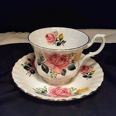 Royal Albert England Bone China Tea Cup & Saucer Pink Yellow Roses Flower