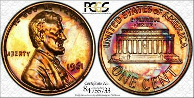 1961 Lincoln Memorial Cent PCGS PR64 RB Top-Noch Toned Coin