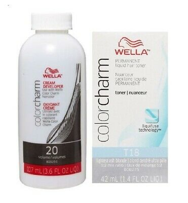 Wella-T18 Liquid Toner Lightest Ash Blonde + DEVELOPER (Vol.20)