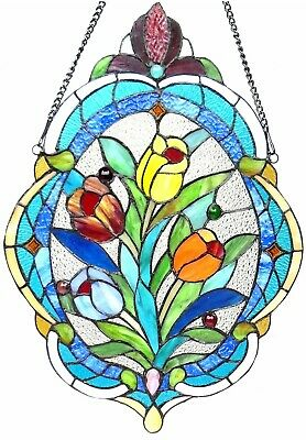 "22.5"" x 15.5"" Unique Victorian Floral Tiffany Style Stained Glass Window Panel"