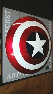"Custom Full Size Captain America Shield 30"" Metal Prop Replica Avengers Solid"