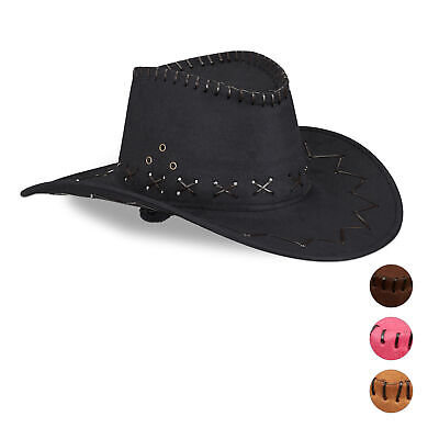 76d7e43b16b1 ADULTI UOMO DONNA Nero Cowboy Far West Costume Stile Western ...