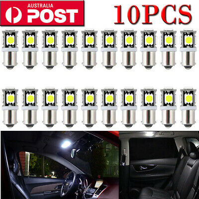 10X Ba9S Bayonet Led Light Bulb 5Smd 5050 White Parker 12V Car Globe Interior