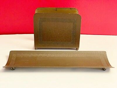 Arts & Crafts BRADLEY & HUBBARD DESK SET LETTER MAIL HOLDER PEN TRAY Greek Fret