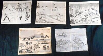 Lot of 5 Authentic 19th Century Hokusai Woodblock Prints: Diptychs