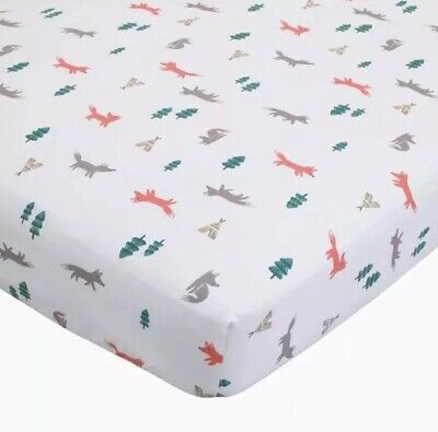 Carter's New Baby Boy/Girl Fox Fitted Cotton Crib Sheet White Forest Woodland