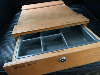Vintage Wooden NORWOOD CASH TILL REGISTER with BELL grocery Australian
