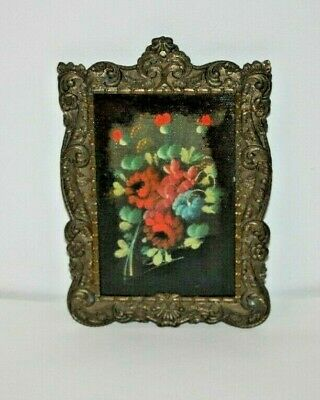ANTQ? Ornate Stamped Brass Mini Picture Frame W/Still Life Floral Oil Painting