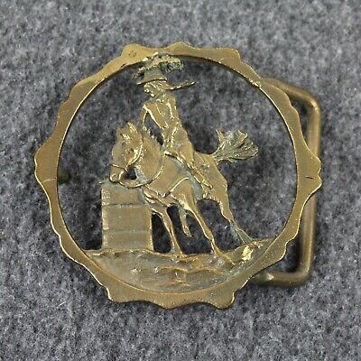 Vintage Cowgirl Riding Horse Cut Out Western Rams' Horn Solid Bronze Belt Buckle
