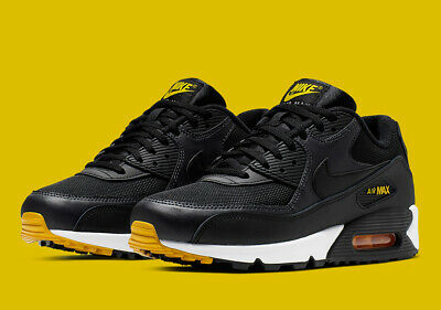new york 26dcb 528b0 Nike Air Max 90 Essential Black Yellow Mens Aj1285-022 Am90 Am95 New Retro  Og