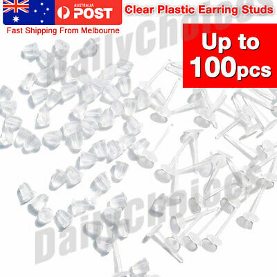 10x 3mm Clear Invisible Plastic Earring Studs w/ Backings Earing Flat Base NEW