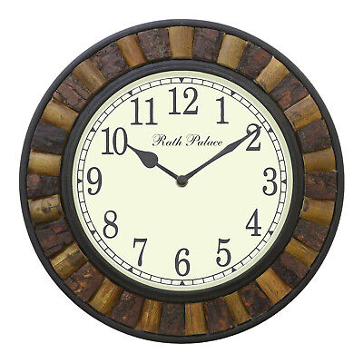 Antique Round Finish Brown Handmade Coconut Shell Wooden 12x12 Inch Wall Clock