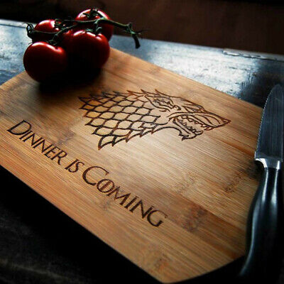 GADGET TRONO DI SPADE TAGLIERE DA CUCINA GOT GAME OF THRONES Dinner is coming