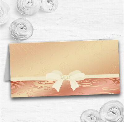 Cream Pale Coral Peach Pink Bow Wedding Table Seating Name Place Cards