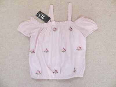 BNWT Girls New Look Pink White Striped Embroidered Floral Cotton Top Age 14yrs