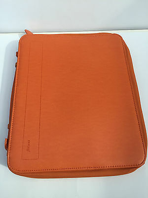 Filofax A4 pennybrigde zipped folder with rings and handels tangerine