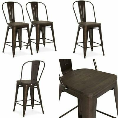 Industrial Metal Counter Stools 24 Inch High Backrest Rubber Caps Feet Set of 2
