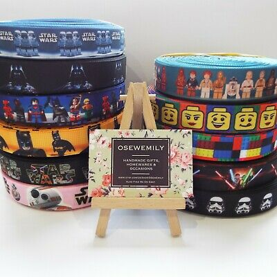"Per Metre LEGO / Star Wars  Grosgrain ribbon 7/8"" 22mm Party Cake/ Hair Bows"