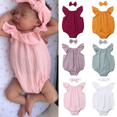 UK Newborn Toddler Baby Girls Clothes Romper Jumpsuit Bodysuit Outfits Sunsuit