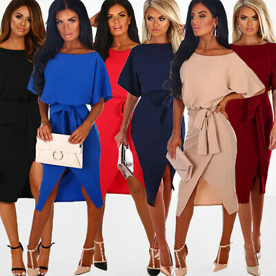 Ladies Womens Batwing Sleeve Belted Split Evening Party Business Midi Wrap Dress