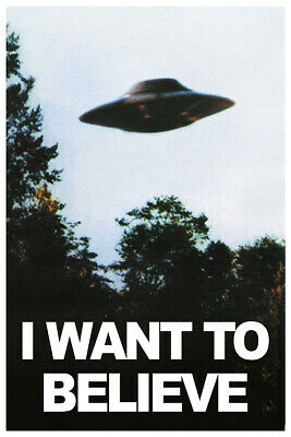 VINTAGE X-FILES 4X POSTER PACK I WANT TO BELIEVE UFO 18x24