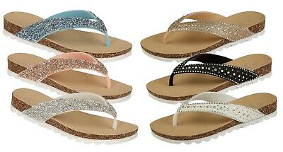 3f5581fd2128 Womens Diamante Glitter Summer Sandals Jewel Toe Post Mules Comfort Shoes  Wedges