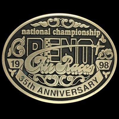 Vtg Reno Air Race Show National Championship 35th Anniversary Brass Belt Buckle