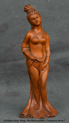 20CM Rare Antique Chinese Boxwood Carved Dynasty Palace Sexy Belle Beauty Statue