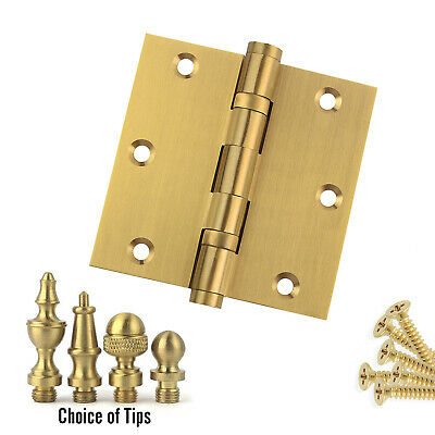 Door Hinge 3.5 x 3.5 Solid Brass Ball Bearing Satin Brass With Tips