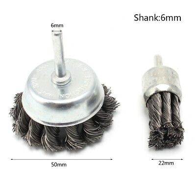 2Pcs Stainless Steel With 6mm Shank 25&50mm Wire Knot End Brush For Die Grinder
