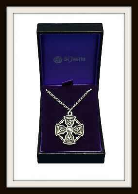 Padstow Celtic Cross ~ Pewter Pendant Necklace ~ Free P&P ~ Made In Uk