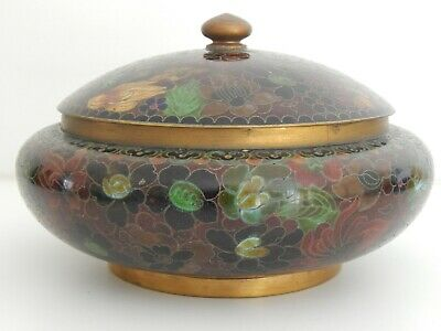 Antique / Vintage Chinese Cloisonne Enamel Covered Lidded Box