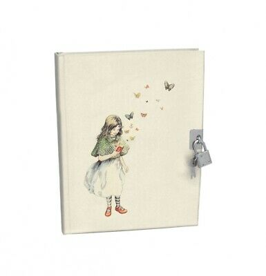 NEW Roger La Borde - Mondoodle Girl Butterflies Lockable Notebook Journal Diary