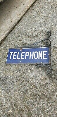 Enamel Wall Mounted Double Sided Telephone Sign - Rare