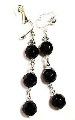 Very Long Silver Black Clip-On Earrings Glass Beads Drop Dangle Vintage Style