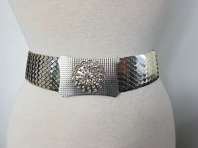 Vintage light metal silver elasticated snake fish scale belt waspie wasit belt